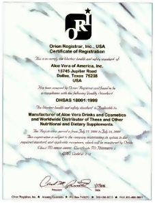 ΟΗSAS 18001 | Πιστοποιήσεις Προϊόντων της Forever Living Products